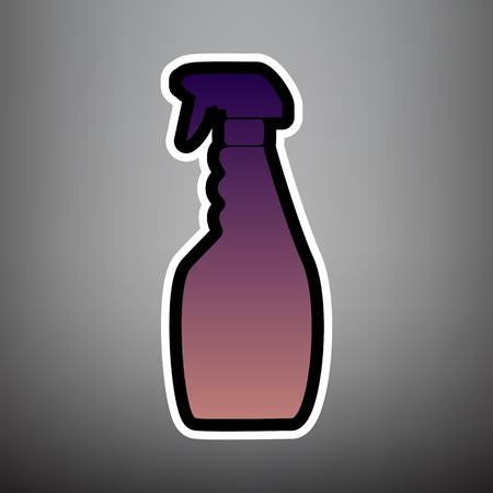 Plastic bottle for cleaning. Vector. Violet gradient icon with black and white linear edges at gray background.