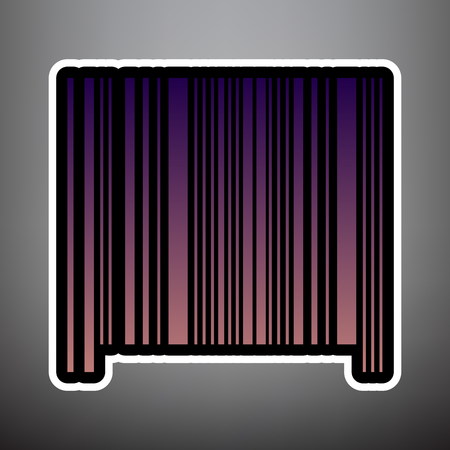 Bar code sign. Vector. Violet gradient icon with black and white linear edges at gray background.