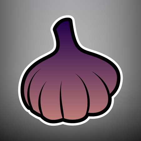 Garlic simple sign. Vector. Violet gradient icon with black and white linear edges at gray background.