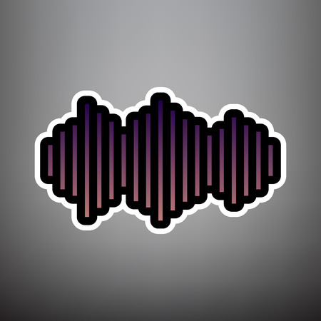 Sound waves icon. Vector. Violet gradient icon with black and white linear edges at gray background.