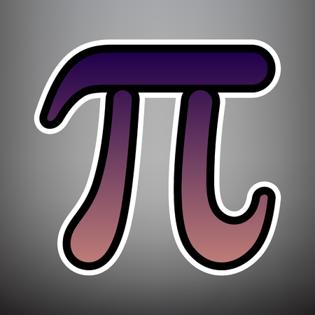 Pi greek letter sign. Vector. Violet gradient icon with black and white linear edges at gray background. Illustration
