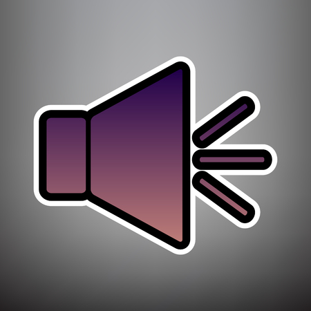 Sound sign illustration with mute mark. Vector. Violet gradient icon with black and white linear edges at gray background.