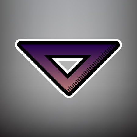 Ruler sign illustration. Vector. Violet gradient icon with black and white linear edges at gray background. Иллюстрация