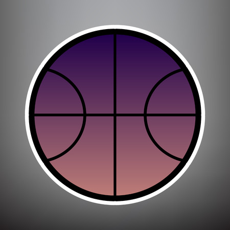 Basketball ball sign illustration. Vector. Violet gradient icon with black and white linear edges at gray background.