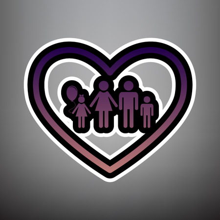 Family sign illustration in heart shape. Vector. Violet gradient icon with black and white linear edges at gray background.