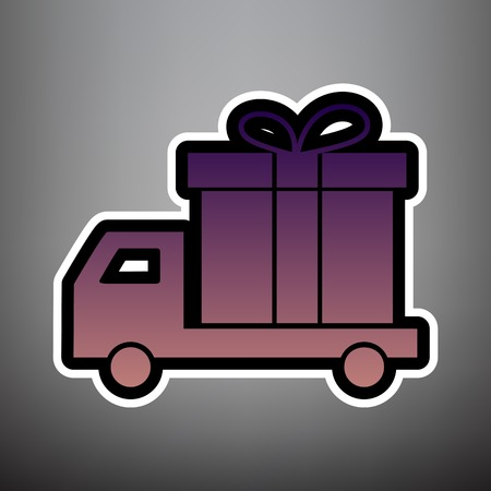 Delivery gift sign. Vector. Violet gradient icon with black and white linear edges at gray background.
