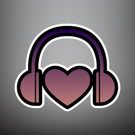 Headphones with heart. Vector. Violet gradient icon with black and white linear edges at gray background.