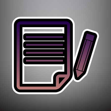 Paper and pencil sign. Vector. Violet gradient icon with black and white linear edges at gray background.