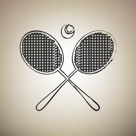 Two tennis racket with ball sign. Vector. Brush drawed black icon at light brown background.