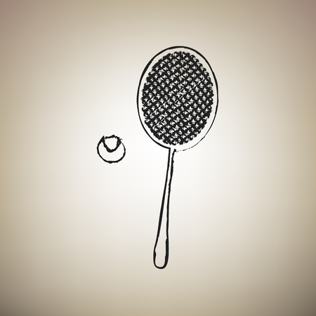 Tennis racquet with ball sign. Vector. Brush drawed black icon at light brown background.