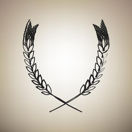 Ilustración de signo de trigo. Pico. Spica. Vector. Pincel dibujado icono negro en fondo marrón claro.