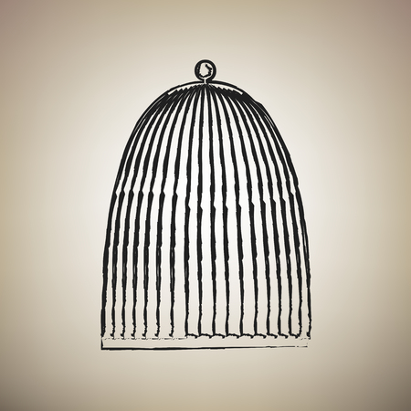 Bird cage sign. Vector. Brush drawed black icon at light brown background.