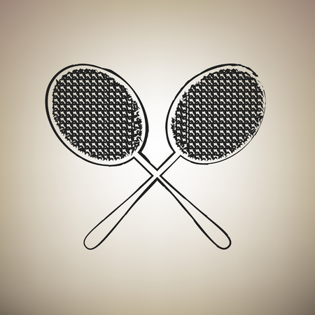Two tennis racket sign. Vector. Brush drawed black icon at light brown background.