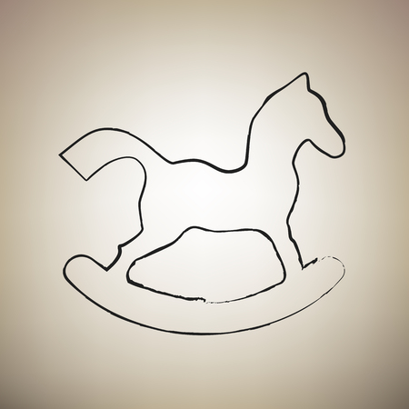 Horse toy sign. Vector. Brush drawed black icon at light brown background.