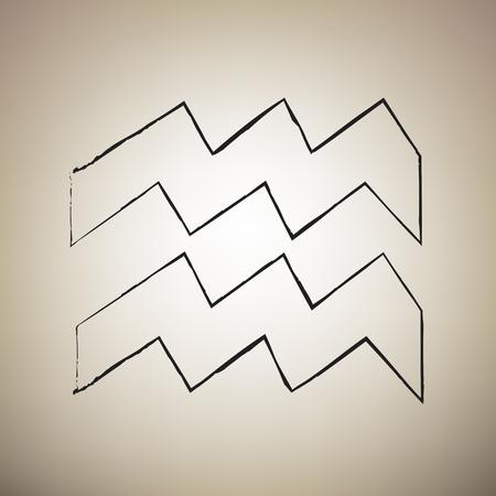 Aquarius sign illustration. Vector. Brush drawed black icon at light brown background.