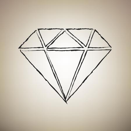 Diamond sign illustration. Vector. Brush drawed black icon at light brown background.