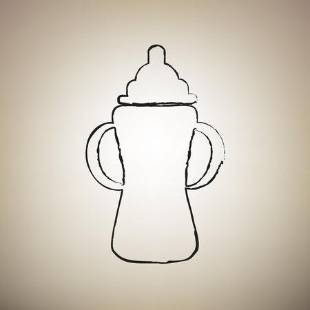 Baby bottle sign. Vector. Brush drawed black icon at light brown background.
