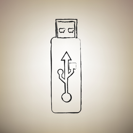 USB flash drive sign. Vector. Brush drawed black icon at light brown background. Illustration