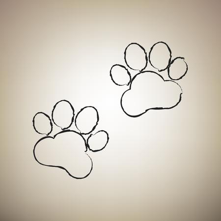 Animal Tracks sign. Vector. Brush drawed black icon at light brown background. Ilustração