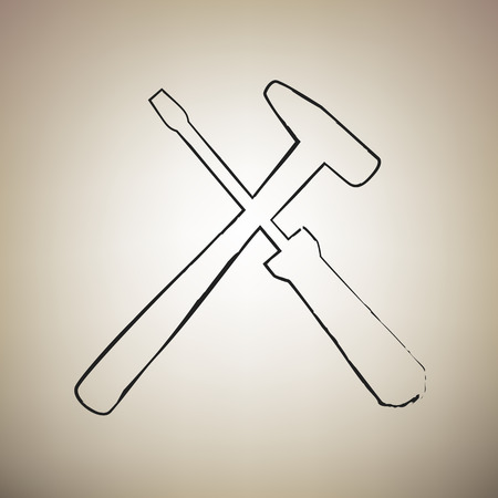 Tools sign illustration. Vector. Brush drawed black icon at light brown background.
