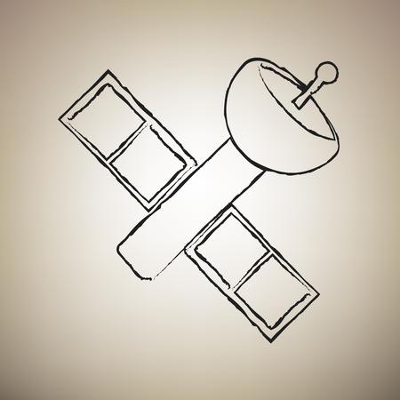 Satellite sign illustration. Vector. Brush drawed black icon at light brown background.