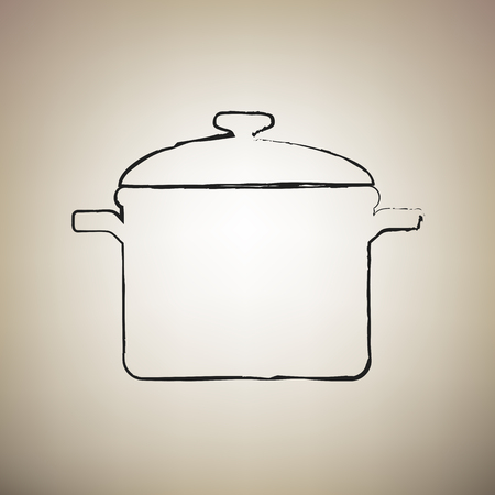 Cooking pan sign. Vector. Brush drawed black icon at light brown background.