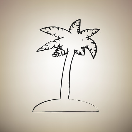 Coconut palm tree sign. Vector. Brush drawed black icon at light brown background.