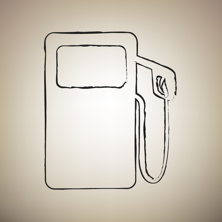 Gas pump sign. Vector. Brush drawed black icon at light brown ba