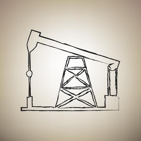 Ölbohrinsel Zeichen. Vektor. Pinsel gezeichnetes schwarzes Symbol auf hellbraunem Hintergrund. Vektorgrafik