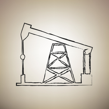 Oil drilling rig sign. Vector. Brush drawed black icon at light brown background.
