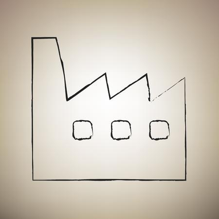 Factory sign illustration. Vector. Brush drawed black icon at light brown background. Vektorové ilustrace