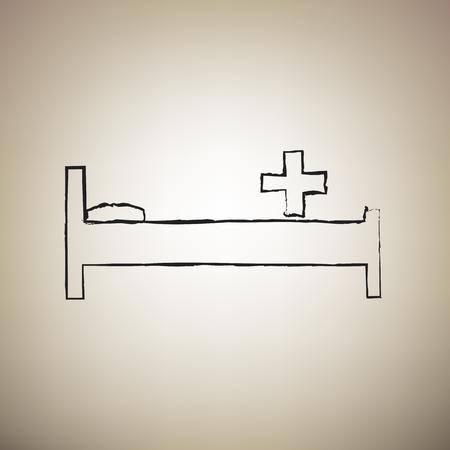 Ziekenhuis teken illustratie. Vector. Borstel tekende zwart pictogram op lichtbruine achtergrond. Vector Illustratie