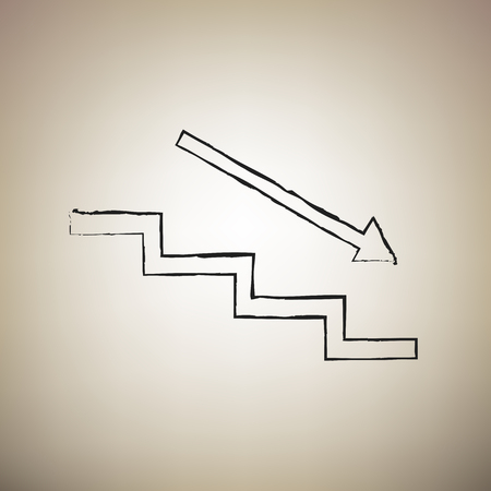 Stair down with arrow. Vector. Brush drawed black icon at light brown background.