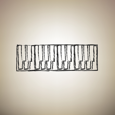 Piano Keyboard sign. Vector. Brush drawed black icon at light brown background.
