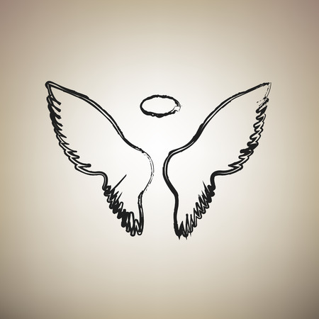 Wings sign illustration. Vector. Brush drawed black icon at light brown background. Illustration