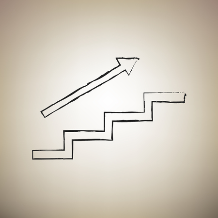 Stair with arrow. Vector. Brush drawed black icon at light brown background. Illustration