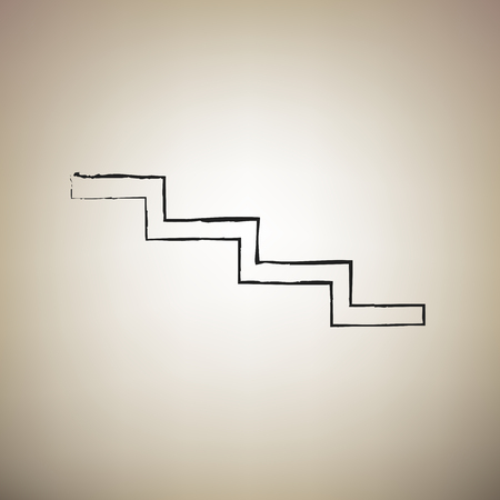 Stair down sign. Vector. Brush drawed black icon at light brown background. Illustration