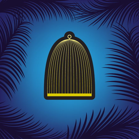 Bird cage sign. Vector. Golden icon with black contour at blue background with branches of palm trees.