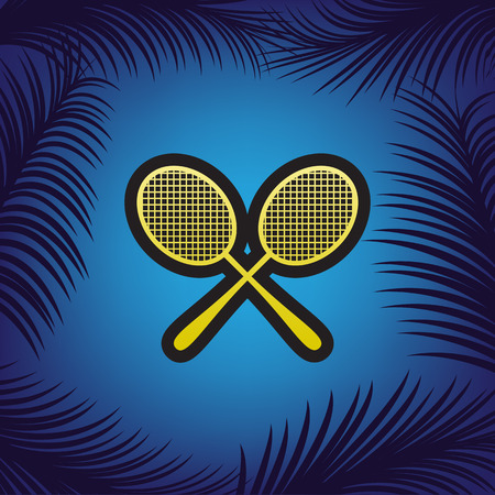Two tennis racket sign. Vector. Golden icon with black contour at blue background with branches of palm trees.