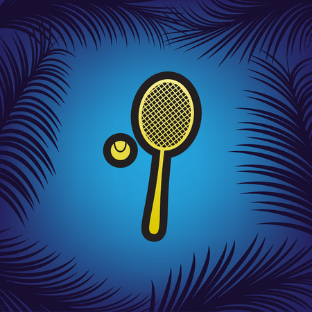 Tennis racquet with ball sign. Vector. Golden icon with black contour at blue background with branches of palm trees.