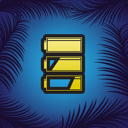 Set of battery charge level indicators. Vector. Golden icon with black contour at blue background with branches of palm trees. Ilustração