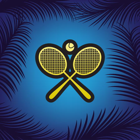 Two tennis racket with ball sign. Vector. Golden icon with black contour at blue background with branches of palm trees. Illustration
