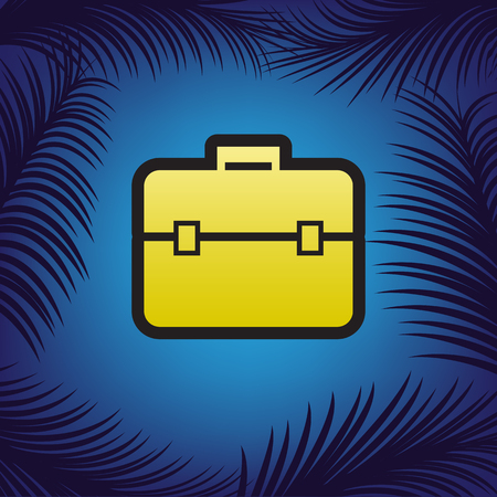 Briefcase sign illustration. Vector. Golden icon with black contour at blue background with branches of palm trees. Vector Illustration