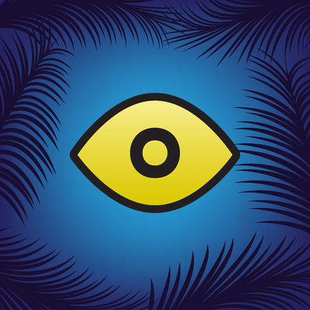 Eye sign illustration. Vector. Golden icon with black contour at blue background with branches of palm trees. Ilustração