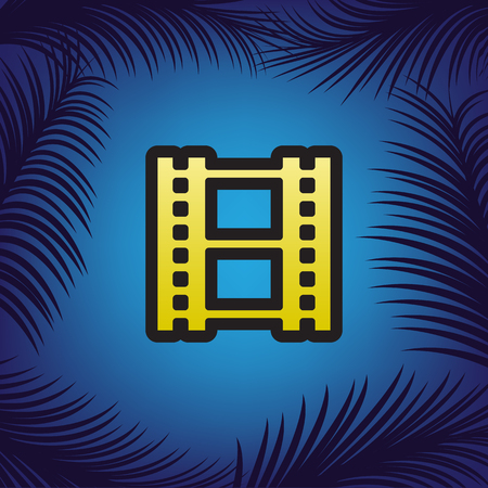 Reel of film sign. Vector. Golden icon with black contour at blue background with branches of palm trees.