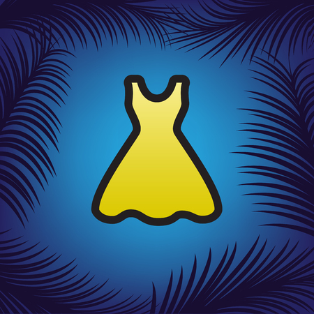 Woman dress sign. Vector. Golden icon with black contour at blue background with branches of palm trees. Illustration