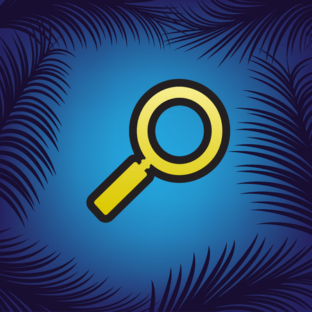 Zoom sign illustration. Vector. Golden icon with black contour at blue background with branches of palm trees.