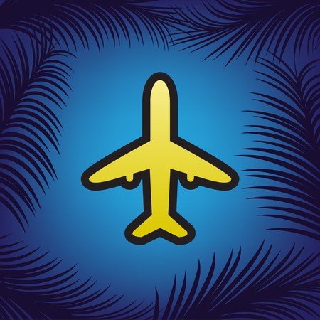 Airplane sign illustration. Vector. Golden icon with black contour at blue background with branches of palm trees.