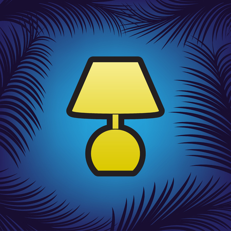 Lamp sign illustration. Vector. Golden icon with black contour at blue background with branches of palm trees. Vettoriali