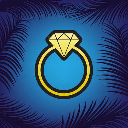 Diamond sign illustration. Vector. Golden icon with black contour at blue background with branches of palm trees.